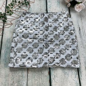 BR Sequin Skirt 4 White Silver Mini party new year